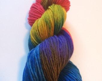 "Single Ply Hand Painted Heavy Aran/ Bulky Weight Yarn ""Flight of Butterflys"" Superwash Merino"