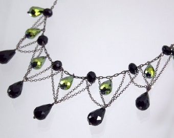 Downton Abbey Style Black Green Crystals Oxidized Silver Necklace