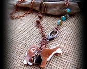 Fired Ceramic Hereford Steer, Cattle Jewelry, Necklace Bead chain & Copper Chain Approx