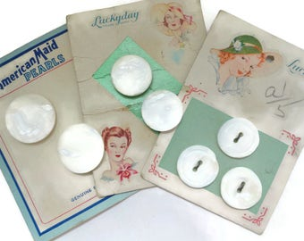 Vintage Mother of Pearl Buttons on Original Old Cards Great Graphics - 7 Antique Shell for Jewelry Supplies Beads Sewing Knitting