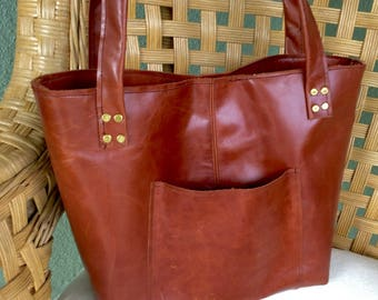 Introductory Price New Design! Leather Tote Purse Lined with pockets outside and inside medium brown leather bag handmade leather tote