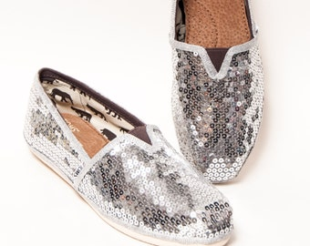 Sequin - Bright Silver Canvas Classics Alpargata Slip On Casual Shoes