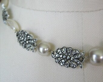 Holiday Sale Marcasite and Pearl Necklace, Choker, Eloxal, Aluminum, West Germany, 1950s, White, Silver, Light Weight
