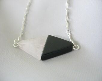 "Yin Yang Necklace, Rose Quartz, Black Onyx, Natural Stones, Triangles, Pendant Necklace, Silver Link Chain, Unique, 18"" Long"