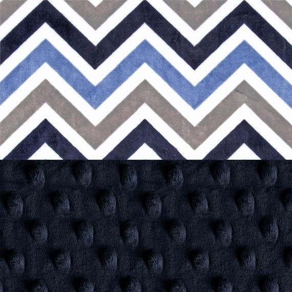 Personalized Baby Blanket / Mini Minky Baby Lovey Blanket Boy, Navy Blue Gray Chevron // Chevron Nursery Theme // Chevron Baby Blanket