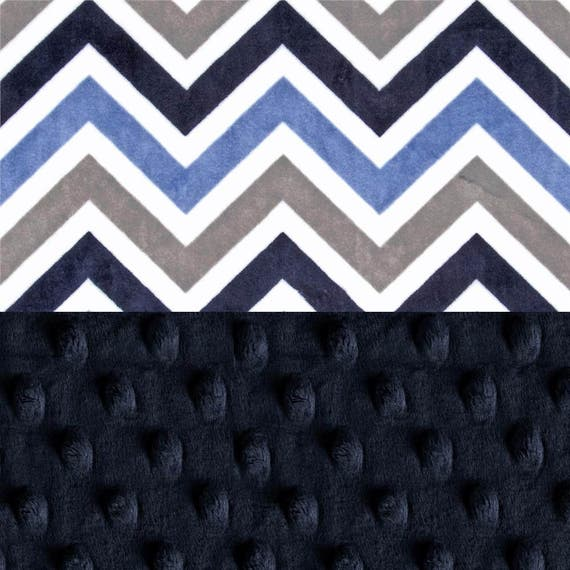 Personalized Blanket Mini Minky Baby Lovey Blanket Boy, Blue Chevron Baby Blanket / Newborn Baby Lovey / Baby Gift / Name Blanket / Baby Boy