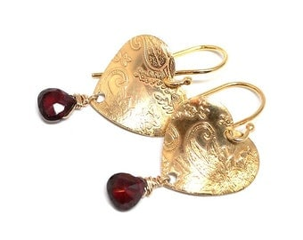 Earrings in Gold Vermeil heart garnet, boho, elegant, stylish, exclusive, handmade, gift, dangle, red, womans, heart - Free shipping