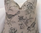 Throw Pillow Cover Burlap Pillow Black Tan Pillow Bird Pillow Decorative Pillows Accent Pillow Cushion Cover