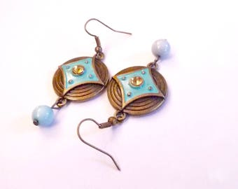 Turquoise Copper Charm Dangle Earrings