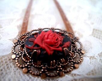 Rose Cabochon Hair Fork - Custom Made to Order-  hair accessories, metal hair comb, hair stick, u pin, woman