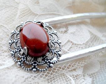 Red Jasper Hair Fork - Custom Made to Order-  hair accessories, metal hair comb, hair stick, u pin, woman