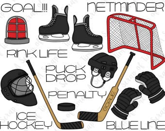 Ice Hockey Hand Drawn Digital Clipart - Set of 18 - Hockey Skate, Helmet, Gloves, Stick, Net - Instant Download - Item #9170