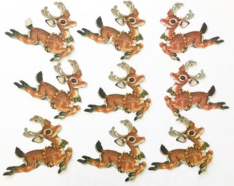 Vintage Die Cuts Santa's Reindeer Dennison Christmas Wall Decorations