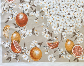 Vintage Tablecloth ORANGES Blossoms FRUIT Rectangular Table Cloth