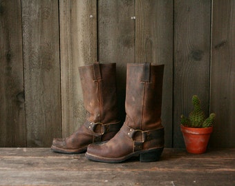 Frye Boots Harness Distressed Brown Bohemian Fashion Motorcycle Boots Fit Like 7 US Women Vintage From Nowvintage on Etsy