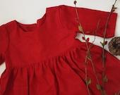 Red Linen Dress, Linen Dress in Red, Red Long Sleeve Dress, Red Dress, Holiday Dress, Girls dress, Linen Dress, Christmas Dress