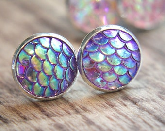 Mermaid tail fish snake dragon scale 12mm. cabochon AB color stud earring post .925 sterling silver plated U3/1