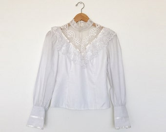 Vintage 1980s Gunne Sax White Long Sleeve Lace Victorian Style Cotton Blouse - XS