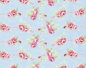 NEW Rambling Rose from Tanya Whelan Rosebuds on Blue  YES!! Continuous fabric cuts and shipping is combined