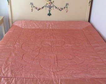 Vintage Peach Liquid Satin Quilted Hollywood Glam Wool Comforter Full Size
