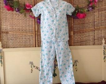 Vintage 50's Pajamas Set Blue Rose Seersucker Sears Jamarettes Small 32