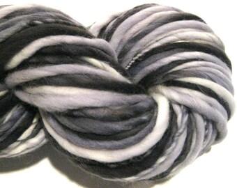 Handspun Yarn, Dapple Grey 102 yards, hand dyed merino wool, black yarn, white yarn waldorf doll hair, knitting supplies,crochet supplies