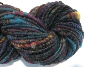 Bulky Handspun yarn Random Acts of Fiber 65 yards  art yarn rainbow yarn corespun yarn knitting supplies crochet supplies Waldorf doll hair