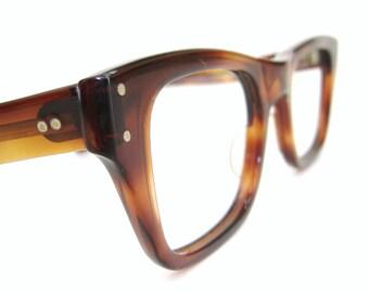 Vintage Mens B&L Tortoise Horn Rim Glasses Eyeglasses Sunglasses Mad Men Frame NOS