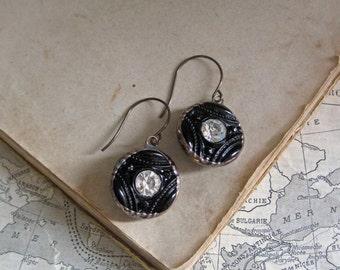 Vintage Button Earrings Black Glass Rhinestone Jewelry