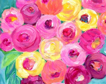 Roses Art, Flowers Art Print, Pink Coral Roses, Magenta Roses, Yellow Roses, Pink Flowers, Turquoise, Abstract Floral Art, Mother's Day Gift