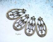 Ornate Earring Dangle Art Deco Antique BrassTeardrop Charms - 4