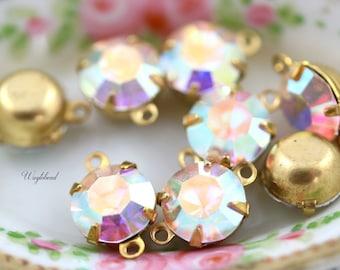 Preciosa Crystal Set Stones Vintage Glass Round Drop Connector AB Crystal 8mm - 4
