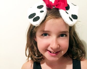Black and white Dalmatian red polkadot bow Ears Slide on Headband GREAT PHOTOGRAPHY PROP Shipped priority
