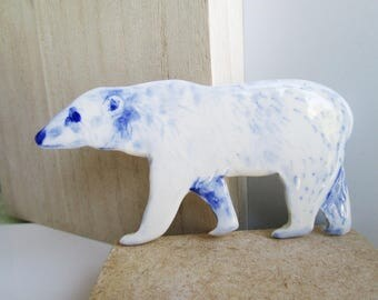 Polar Bear - Handpainted porcelain wall hanging ( for shadow box)