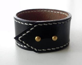 Black Leather Cuff Men Cuff Leather Bracelet Leather Bangle Hand Stitched
