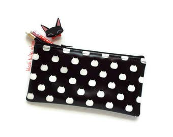 Black Zipper Pouch Pencil Case Lightweight Vinyl Pouch Black White Kitty Cat Hear Makeup Bag Clutch Pouch Zippered Pouch Stationery Cat Bag