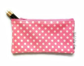 Pink Zipper Pouch Pencil Case Zipper Bag Lightweight Vinyl Pouch Polka Dot Pencil Pouch Planner Pencil Pen Holder Stationery Desk Accessory