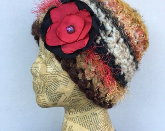 Crocheted Beanie Hat in Camel, Cream, Gold, Brown, Grey, Peach, Beige with Removable Red and Black Fabric Flower Pin
