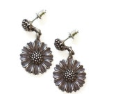 Sunflower Dangle Earrings Posts Signed Vintage Silver Tone