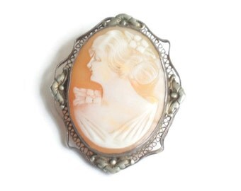 Carved Shell Cameo Brooch Pretty Lady Silver Floral Filigree Frame Vintage