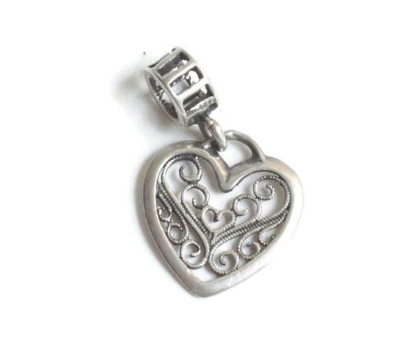 Sterling Silver Filigree Heart Dangle Charm Large Hole Charm for European Style  Bracelet