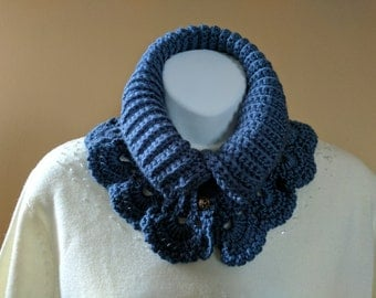 Lacy Crochet Neck Warmer Scarf in Satin Soft Blue with Crocheted Lace Trim