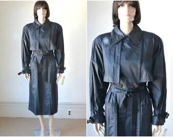 80s London Fog Black Trench Coat  90s Coat NWT  Oversized