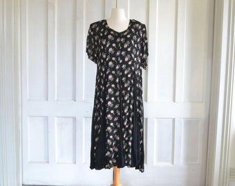 90s Floral Grunge Black Midi Dress Roses Nostalgia Dress Crinkle Rayon Gauze