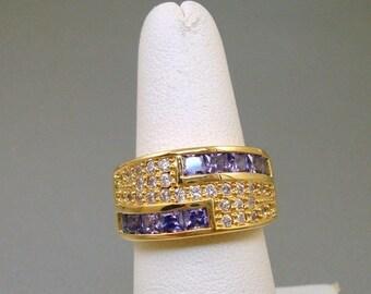 Purple Crystal Rhinestone ring