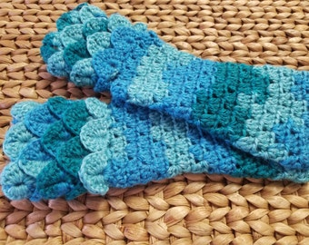 Teal Aqua and Green Mermaid Fingerless Gloves with Free Shipping Included and Ready to Ship!