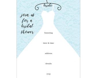 Wedding Dress Bridal Shower Fill In Invitations