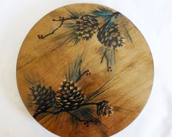 "Large 16"" Lazy Susan Turntable Wood Lazy Susan  w/ Pine Cone Design"