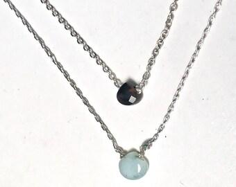 Black Choker Necklace, Small Black Stone Minimalist Choker, Dainty Black Stone Choker