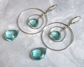 Apatite Quartz Earrings with Double Hoops in Silver